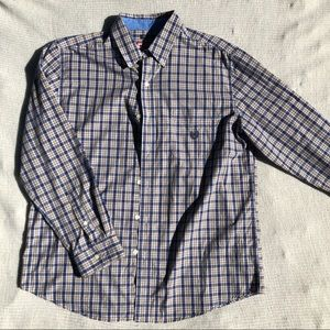 Chaps Button Up with Blue and Brown Plaid